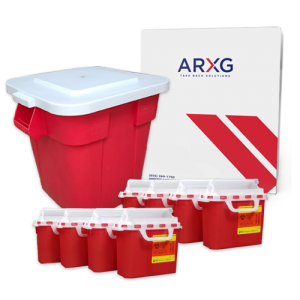 28 Gallon Medical Waste Mail-In Take Back Container with5.4 Qt Mail-In Take Back Sharps Container (8pk)
